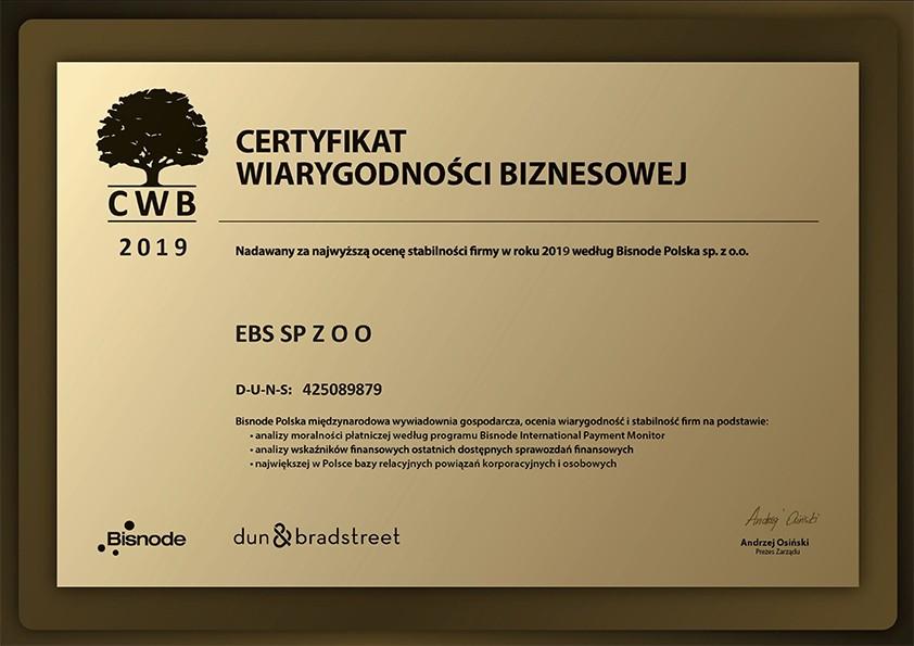 Certyfikat Wiarygodności Finansowej 2019